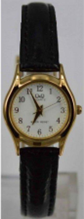 Dames horloge vanhet merk Q&Q Bruine leren band met Goudkleurige horloge kast VW55J104Y