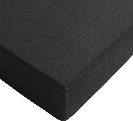 Riviera Maison - hoeslaken - katoen - jersey lycra - 80/90 x 200/220 cm - Zwart
