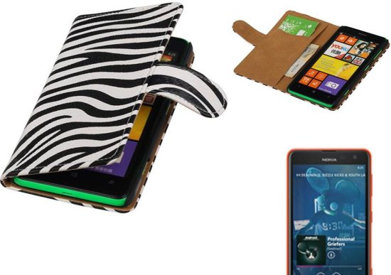 MP Case Zebra Bookstyle Hoes voor Nokia Lumia 625 Wit in Wassinkbrink