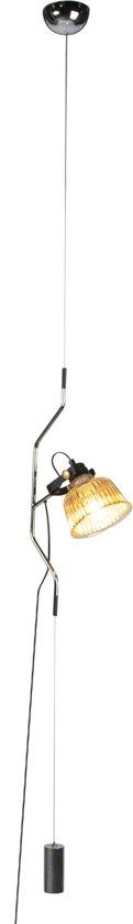 QAZQA Contra - Hanglamp - 1 lichts - H 4000 mm - Chroom