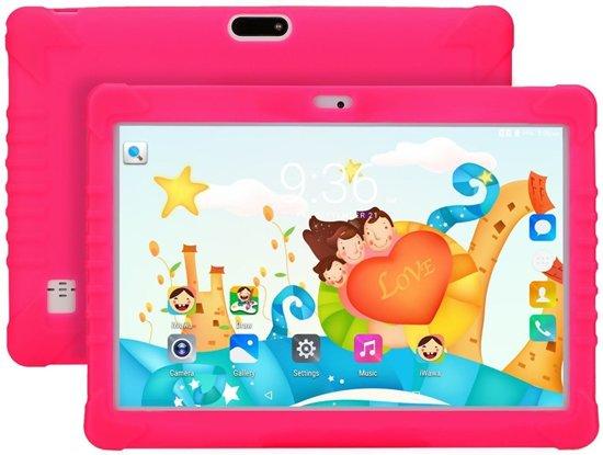Maoo Premium Kindertablet – Snelle Processor – 32GB geheugen & 2GB RAM – Hoesje met Standaard - Roze