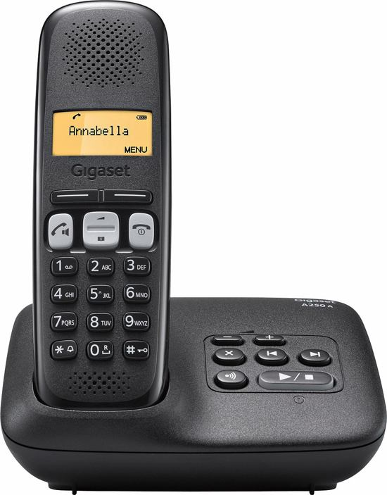 Gigaset A250A - Single DECT telefoon met antwoordapparaat - Zwart