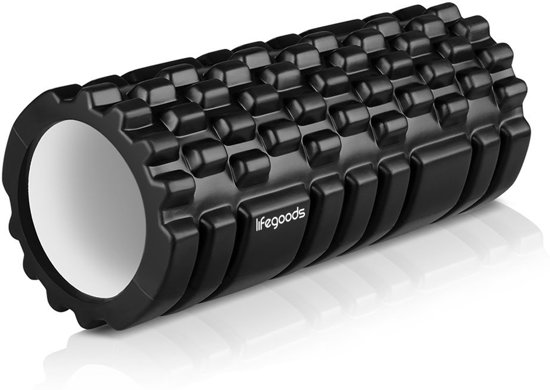 LifeGoods Grid Foam Roller – Trigger Point Massage - Fitness – Yoga – Pilates – Fascia – Bindweefsel - Soft – 33cm - Zwart