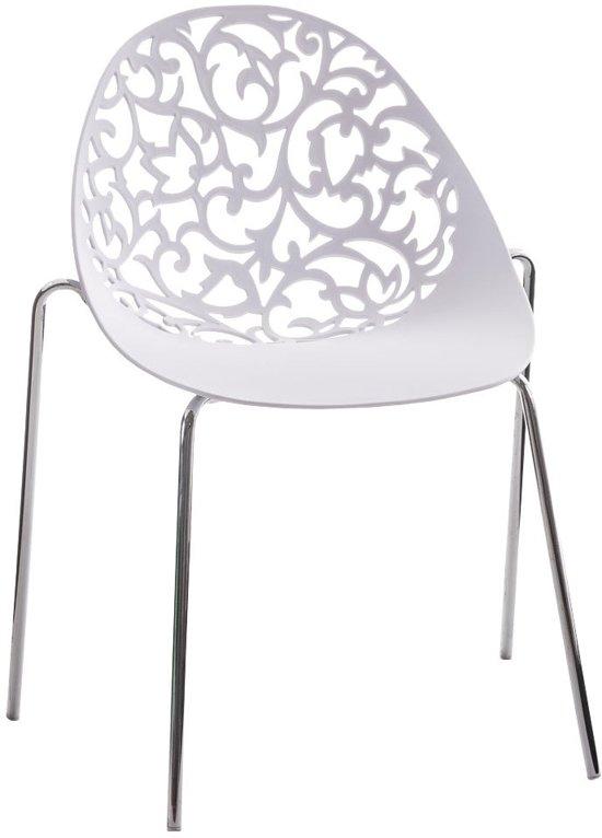Clp Design retro bezoekersstoel, wachtkamerstoel FAITH - stapelbare stoel in chroomoptiek - wit