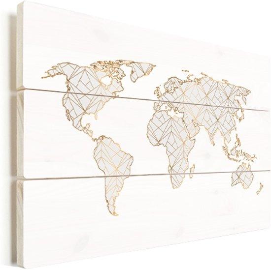 Wereldkaart geometrisch goud lichtgrijs vurenhout 40x30 cm