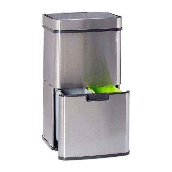 Uitzonderlijk bol.com | relaxdays Afvalscheidingprullenbak 3 vakken - recycle  IH78
