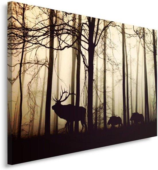 Schilderij - Het bos ontwaakt, hert en wilde zwijnen