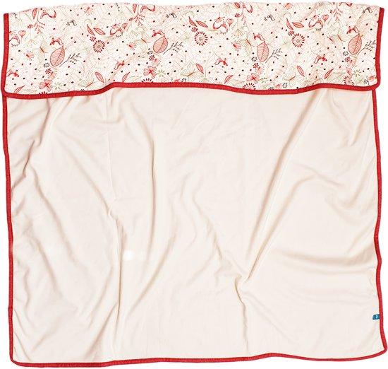 Wallaboo ledikant deken Dreamy – dubbelzijdige ruime deken – Ideaal voor babybed - Twee lagen zacht katoen – ook geschikt voor autostoel, kinderwagen, ledikant en box - pasgeboren tot 24 mnd - formaat: 100 * 90 cm – Kleur: rood / ecru