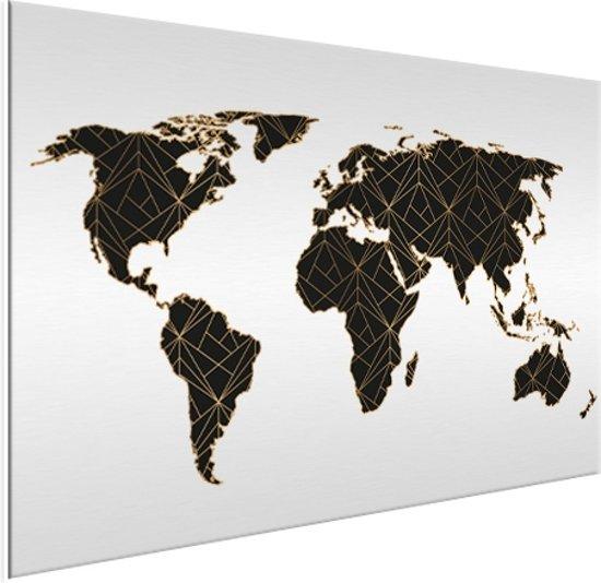 Wereldkaart Zwart Goud Lijnen Aluminium Schilderij 120x90 cm | Wereldkaart Wanddecoratie Aluminium
