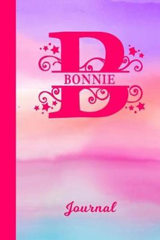 Bonnie Journal: Personalized Custom First Name Personal Writing Diary - Cute Pink & Purple Watercolor Effect Cover - Daily Journal for