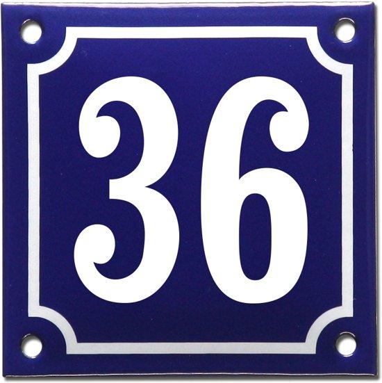 Emaille huisnummer blauw/wit nr. 36