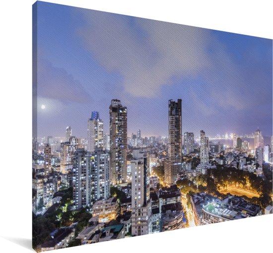 Skyline Mumbai in de avond Canvas 30x20 cm - klein - Foto print op Canvas schilderij (Wanddecoratie woonkamer / slaapkamer)