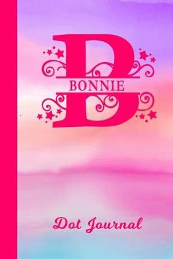 Bonnie Dot Journal: Personalized Custom First Name Personal Dotted Bullet Grid Writing Diary - Cute Pink & Purple Watercolor Cover - Daily