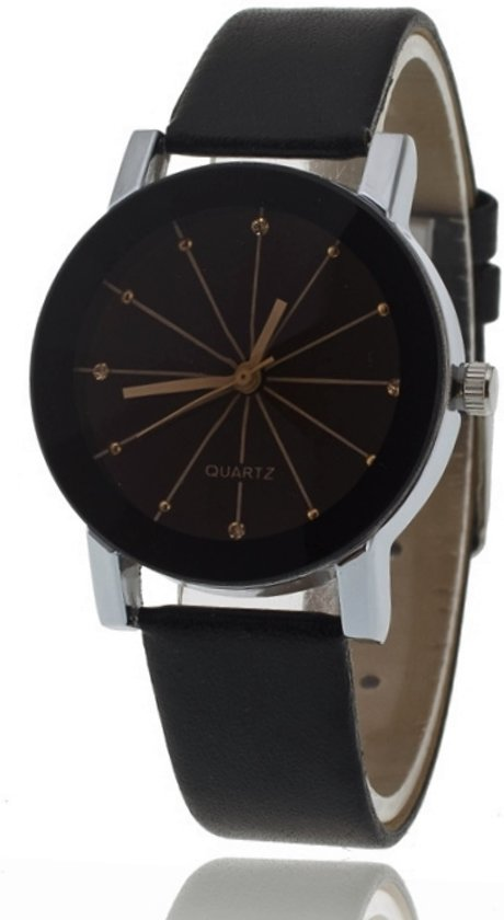 Black Quartz Horloge | Rosé & Zwart | PU Lederen Band | Fashion Favorite