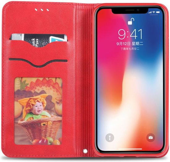 Apple iPhone XS Retro Portemonnee Hoesje Rood