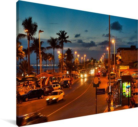 Straat bij itapuastrand in Salvador in Brazilië Canvas 120x80 cm - Foto print op Canvas schilderij (Wanddecoratie woonkamer / slaapkamer)