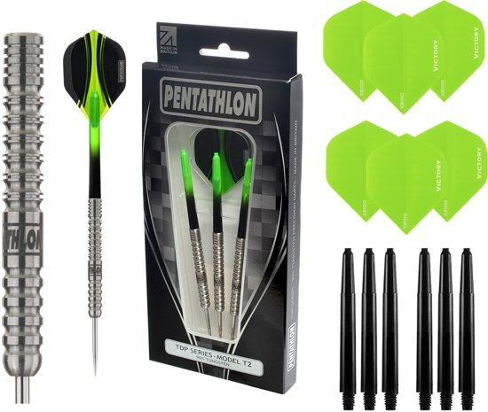 Pentathlon – T2 Groen 23 gram 90% Tungsten – dartpijlen – inclusief bijpassende – darts shafts – en – darts flights