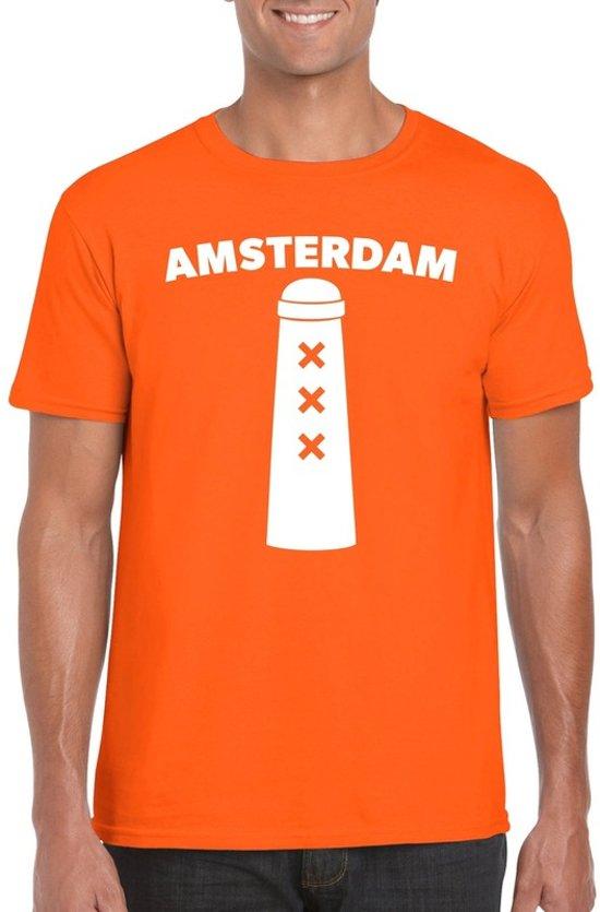 Amsterdam shirt met Amsterdammertje oranje heren S
