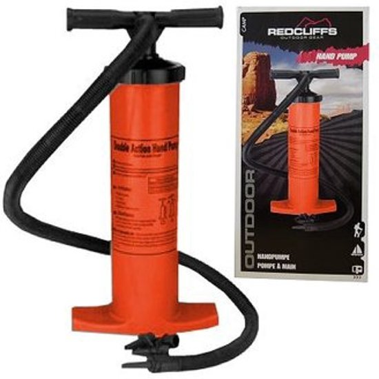 Handpomp | rood | 2x2 liter | ideaal voor kite, luchtbedden, zwembad of strandballen op te blazen
