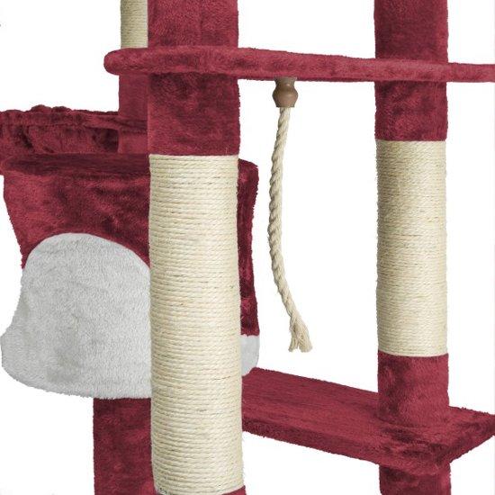 TecTake Katten krabpaal Fippi - 201 cm hoog - rood wit - 402187