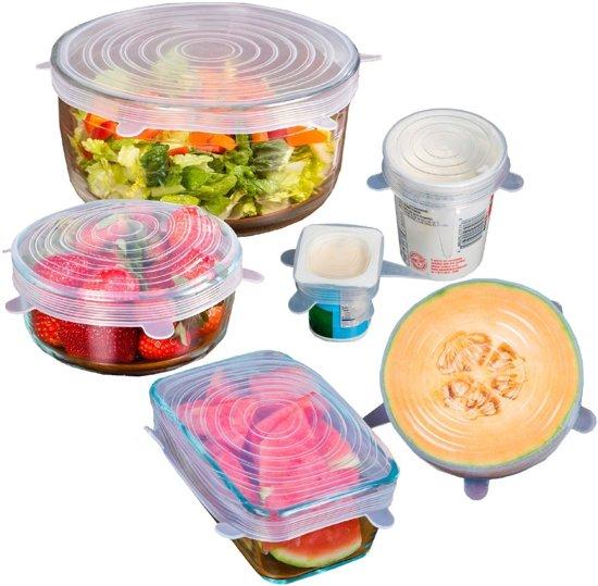 Kitchen Princess - Siliconen Afsluit Folie - Seal Uitrekbaar - Deksel Herbruikbaar Vacuum - 6 Stuks