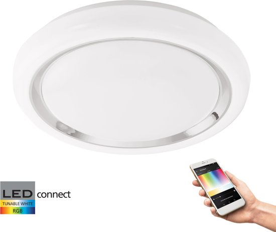 EGLO Connect Capasso-C - Wand/Plafondlamp - Wit en gekleurd licht - Ø340 - Wit/Chroom