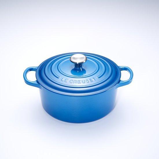Gietijzeren ronde braadpan in Marseilleblauw 20cm 2,4l
