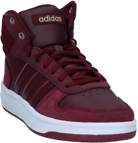 adidas - Hoops 2.0 Mid - Sneaker hoog gekleed - Dames - Maat 38 - Bordeaux  - Maroon/Maroon/Ftwr White
