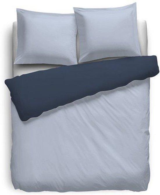 HNL Royal Cotton Perkal Uni Dekbedovertrek - Tweepersoons - 200x200/220 cm - Baby Blue/Dark Denim