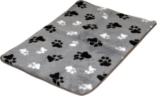 Vetbed grijs 2 kleuren voetprint met bies 150x100