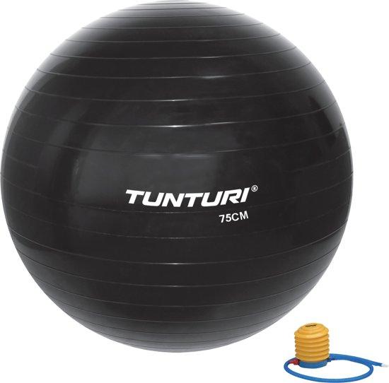Tunturi Fitnessbal - Gymball - Swiss ball - Ø 75 cm - Inclusief pomp - Zwart