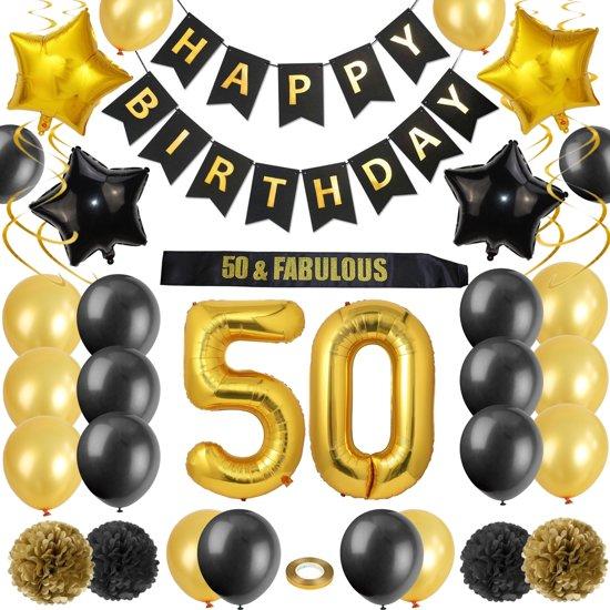 Versiering Verjaardag 50 Jaar.Verjaardag Versiering 50 Jaar Feestje Zwart En Goud Decoratie Feest Set Black And Gold Happy Birthday Party Decoraties Met Folie Ballon Gouden