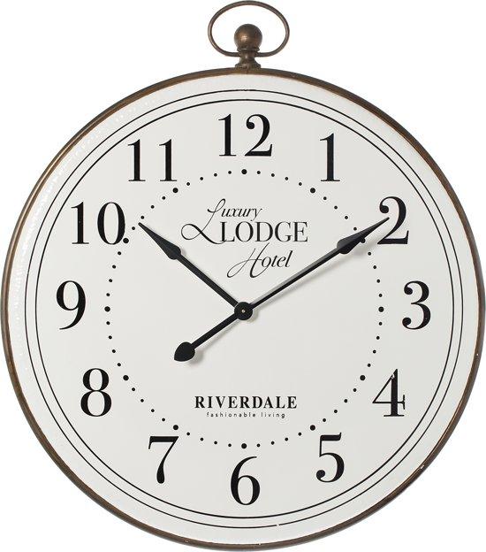 Riverdale Lodge - Wandklok - 109cm - wit/bruin