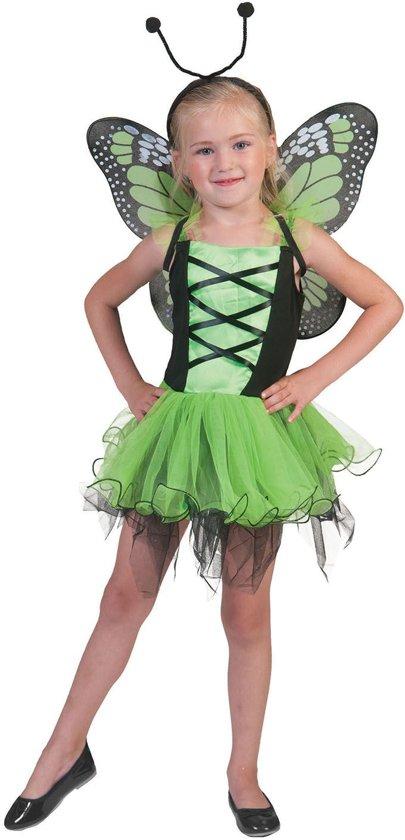 Vlinderjurkje groen - Verkleedkleding - Maat 116/128