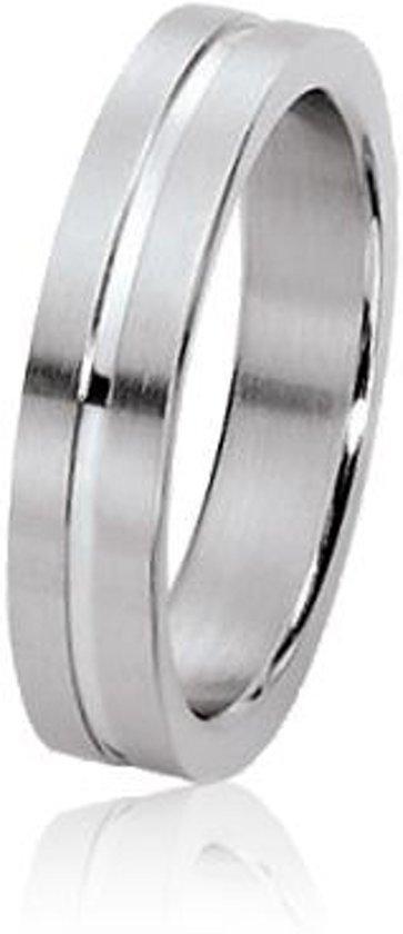 Dito relatiering - staal - glanzende streep - mat - vlak - 7 mm breed - maat 60