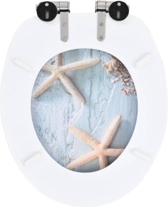 vidaXL Toiletbrillen 2 st met soft-close deksels MDF zeesterontwerp
