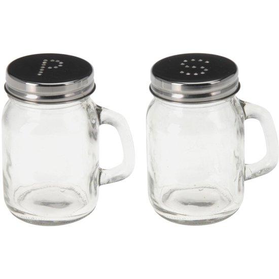 Peper en zout potjes van glas 8,5 cm Valentinaa