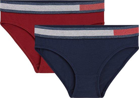 Tommy Hilfiger - Meisjes 2-Pack Bikini Slips Navy Rood-128/134
