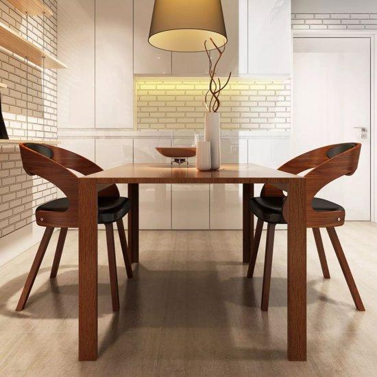 vidaxl eetkamerstoelen singapore houten frame kunstleer bruin 2 st
