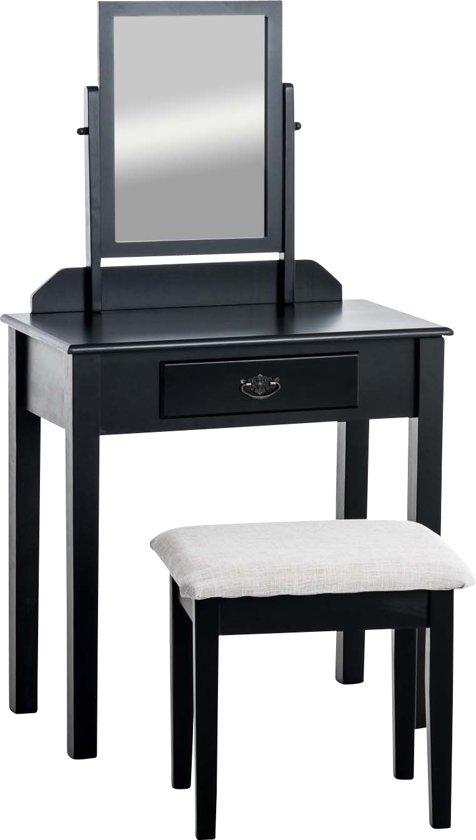 Clp Make-up tafel LEONOR, Kaptafel, opmaak tafel, cosmetica & visagie tafel, met kantelbare spiegel en krukje Spiegeltafel met lade, cosmetische tafel met spiegel en krukje - zwart,