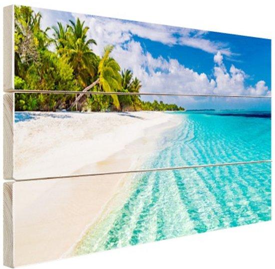 Palmbomen bij wit strand en blauw water Hout 80x60 cm - Foto print op Hout (Wanddecoratie) / Zee en Strand