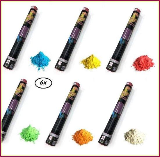 6x Kleuren poeder Shooter 40 cm ass.groen/oranje/wit/blauw/rood/geel