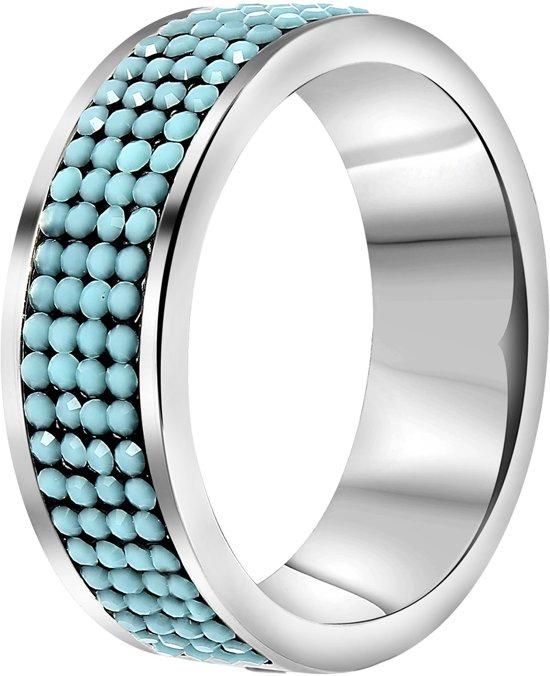 Lucardi - Stalen ring turquoise kristal