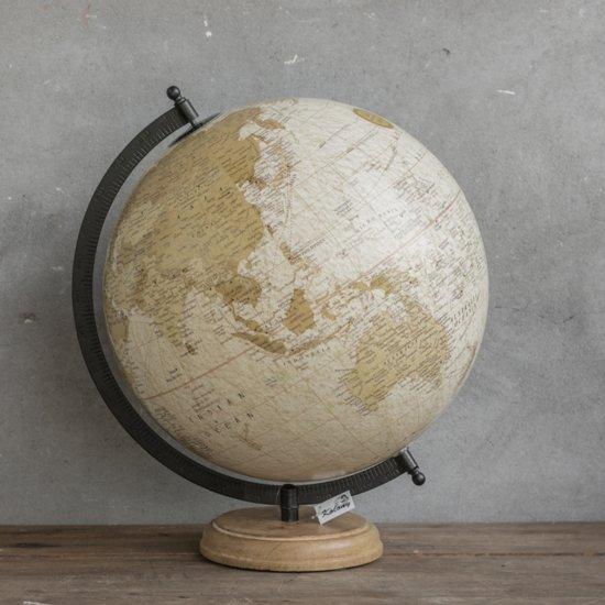Wereldbol globe creme 30 x 32 x 40 cm