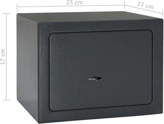 vidaXL Kluis mechanisch 23x17x17 cm staal donkergrijs
