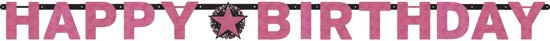 Amscan 'Happy Birthday' verjaardag slinger - roze glitter - 2 meter Valentinaa