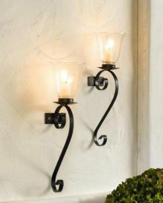 wand windlicht met glas set van 2 stuks. Black Bedroom Furniture Sets. Home Design Ideas
