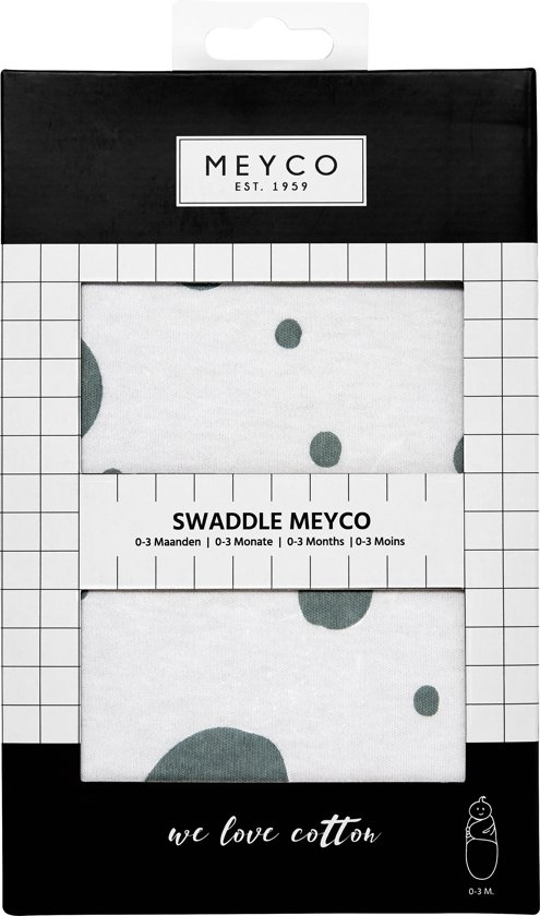 SwaddleMeyco Inbakerdoek - 0-3 maanden - Dots stone green