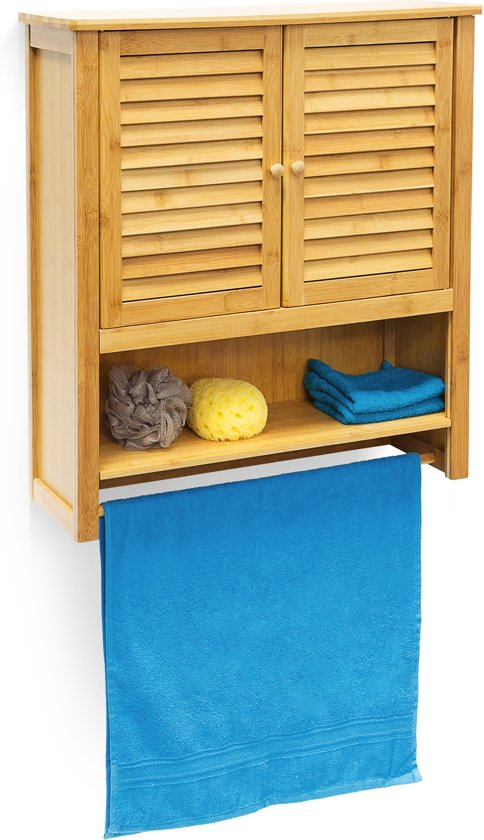 Relaxdays Hangkast Bamboe Wandkast Hangende Kast Bamboe Badkamerkast