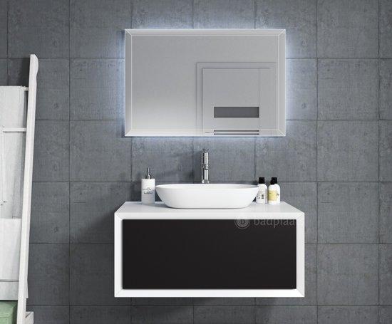 Bol.com badplaats badkamermeubel furore 90cm zwart met led spiegel